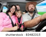 Picture of a happy family riding on a holiday. - stock photo