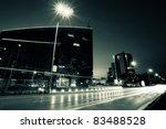 black and white bulgarian capital Sofia; duotone  cityscape background - stock photo