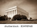 Vintage and Antiqued Photo of the Lincoln Memorial in Washington DC - stock photo