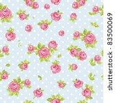 Stock vector elegance seamless wallpaper pattern with of pink roses on blue background vector illustration 83500069