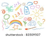 children drawing multicolored... | Shutterstock .eps vector #83509507