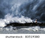 Storm Waves Over Beacon Of The...