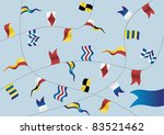 Navigation flags on light blue background. - stock photo