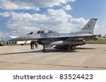 ZHUKOVSKY, RUSSIA - AUGUST 19: The General Dynamics F-16 Fighting Falcon presented at the International Aviation and Space salon MAKS, August 19, 2011 in Zhukovsky, Russia - stock photo