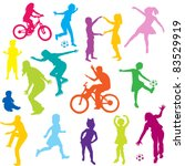 colored children silhouettes...   Shutterstock . vector #83529919
