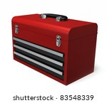 A Portable red toolbox isolated on a white background - stock photo