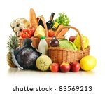 groceries in wicker basket... | Shutterstock . vector #83569213