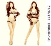 attractive sexual brunette in... | Shutterstock . vector #83570782