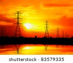 Silhouetted Electric Pylon Wit...