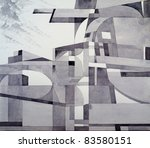 modernist abstract ink and brush drawing