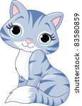 Stock vector illustration of very cute kitten 83580859