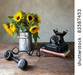 Still Life Illustration with Sunflowers and antique black Telephone in Oil Painting Style - stock photo