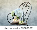 Still Life illustration with Hortensia Flowers in Oil Painting Style - stock photo
