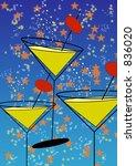 Stylised Martini Glasses On...