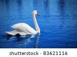 White Swan Floats In Blue Wate...