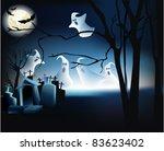 halloween scene with ghosts | Shutterstock .eps vector #83623402