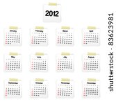 2012 calendar on reminders | Shutterstock .eps vector #83623981