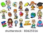 cute schoolboys and schoolgirls ...   Shutterstock .eps vector #83625316