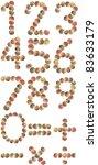 Shell alphabet number, white background isolated - stock photo