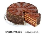 Chocolate Cake  Isolated On A...