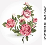 Elegance illustration with pink flowers bouquet isolated on white background. Color design elements.