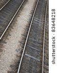 Railway Track on Slanted Angle - stock photo