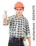 work in a helmet on a white...   Shutterstock . vector #83654470