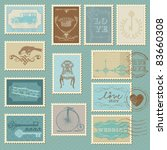 retro postage stamps   for...   Shutterstock .eps vector #83660308