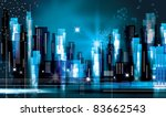 city landscape at night | Shutterstock .eps vector #83662543