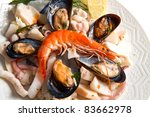 seafood salad on white... | Shutterstock . vector #83662978
