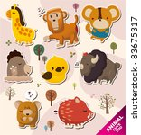 cartoon animal stickers icons | Shutterstock .eps vector #83675317
