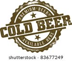 Cold Beer Rubber Stamp - stock vector