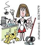 en colère,bébé,brosse,seau,dessin animé,enfant,corvée,nettoyage,comique,armoire,sale,chien,domestique,dessin,amusement