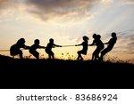 tug war  pulling rope  children ... | Shutterstock . vector #83686924