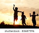 silhouette  group of happy...