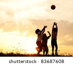 group of happy children playing ... | Shutterstock . vector #83687608
