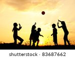 children playing ball on meadow ... | Shutterstock . vector #83687662