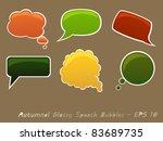 set of autumnal glossy speech... | Shutterstock .eps vector #83689735