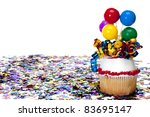 decorated cupcake and confetti... | Shutterstock . vector #83695147