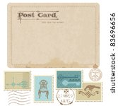 vintage postcard and postage... | Shutterstock .eps vector #83696656