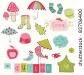 autumn cute elements set   for... | Shutterstock .eps vector #83706400