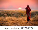 massai man  wearing traditional ... | Shutterstock . vector #83714827