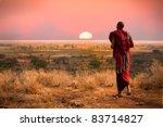 massai man  wearing traditional ... | Shutterstock . vector #83714827
