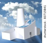 white factory with solar panels ... | Shutterstock . vector #83715841