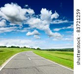 Country Road At Summer Sunny...