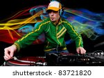 dj with table and club lights...   Shutterstock . vector #83721820