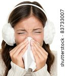 Flu Or Cold   Sneezing Woman...