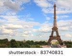 Eiffel Tower - Paris travel icon. Day with vlue sky. - stock photo