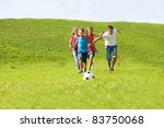 parents and kids running to the ... | Shutterstock . vector #83750068