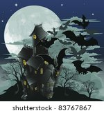 Halloween scene. Illustration of a spooky haunted ghost house with bats flying out of it against the moon. - stock vector